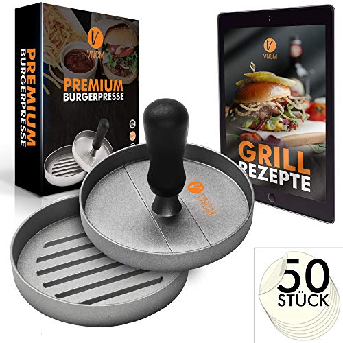 VNCM - Premium Burgerpresse + 50 Free Patty Papers + Gratis E-Book | Edelstahl Pattie Presse