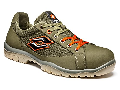 SCARPA ANTINFORTUNISTICA LOTTO JUMP 500 S1P SRC - ART. Q8515 - NIGHT OLIVE/ORANGE - NR. 43