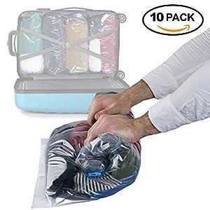 Lot de 10 - Sacs de compression de rangement sous vide à rouler double fermeture éclair et sacs d'emballage - solution imperméable et économiseur d'espace pour le voyage