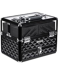 Songmics Coffret cosmétique valise de maquillage professionnelle boîte de rangement couvercle transparent en acrylique plateaux déployés JBC318B