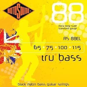 Rotosound Tru Bass Jeu de cordes pour basse Nylon noir Filet plat Diapason extra long Tirant standard (65-115)