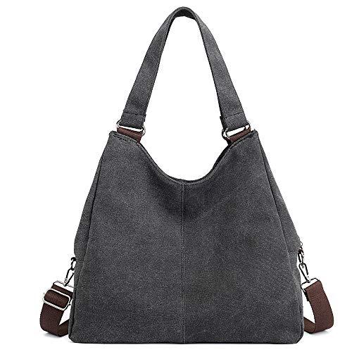 Schwarz Canvas-tasche (Huttoly Canvas Handtasche Damen Canvas Tasche Umhägetasche Schultertasche Crossbody Bag Tasche Shopper Beuteltasche (Schwarz))