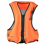 Gonfiabile Portatile Gilet galleggiante Per Adulti, Nuoto, Boccaglio, Nuoto. Surf, Immersioni, Canottaggio, Kayak, Canyoning (orange)