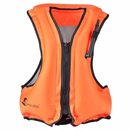 OMOUBOI Erwachsene Tragbare Aufblasbare Auftrieb,Floatageweste,Schnorchelnd, Fischen-Weste, Schwimmen. Fahren, Surfen, Tauchen, Bootfahren, Kayaking, Canyoning (Orange)