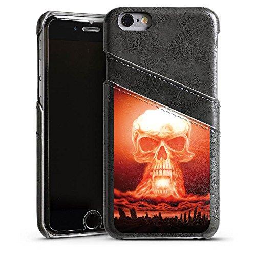 Apple iPhone 5 Housse Étui Silicone Coque Protection Explosion Tête de mort Ville Étui en cuir gris