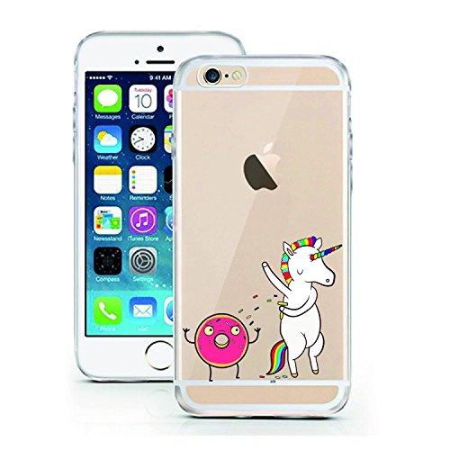 Blitz® ADORE motifs housse de protection transparent TPE caricature bande iPhone Travel iPhone 7 Unicorn Donut