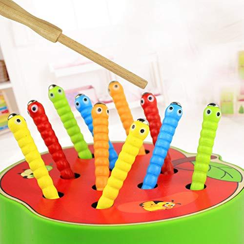 Rain City 2019 Holz magnetischen Bug Spiel Frucht-Form-Wassermelone Erdbeere Ten Bugs Geeignet für 1-3 Jahre alte Männer und Frauen Baby Aufklärung pädagogisches Spielzeug