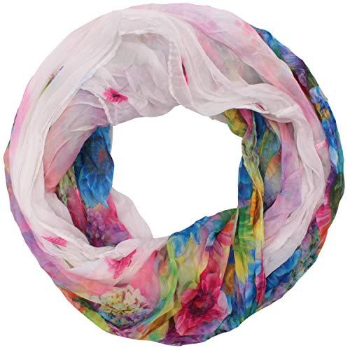Zarter Sommer Crinkle Loopschal Model: Blume2 angenehm und leicht zu tragen, Damen Rundschal, Schal, Loop, Sommerschal (weiß) -