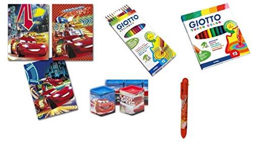 Irpot - kit scuola cars 2 quaderni pennarelli pastelli giotto penna temperamatite