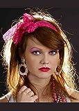 Womens 1980s Neon Pink Fancy Dress Lace Head Scarf