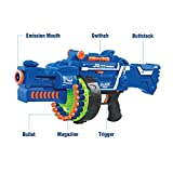 #1: Triton Retails Blaze Storm Soft Bullet Automatic Gun, Blaze Storm Motorized Foam Blaster Gun toy, Battery Operated High Speed Gun, 40 soft bullets included, 20 bullets Magazine, Revised 2018 edition