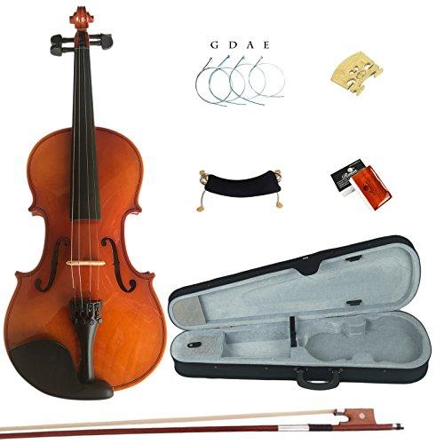 Esound 4/4 MP01B Massivholz Firnis Violine für Anfänger mit Hartschalenkoffer, Schulterstütze, Bogen, Kolophonium und Zusätzliche Saiten (Volle Größe)