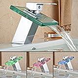 HENGMEI RGB LED Messing Glas Wasserhahn Wasserfall Waschtisch Armatur Waschtischarmatur Küchenarmatur für Badenzimmer Küchen (Type A)