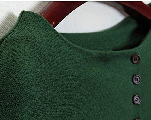Chemise Femme Manches Longues Batwing Top Tunique Blouse Vrac Lâche Pullover Shirt Vert
