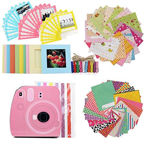 JXE Zubehör-Set für Fujifilm Instax Square SQ6/SQ10 Camera Share SP-3 Druckerfilme – Packung mit rosa Album, Aufkleberecken und Spitzentasche, Wandrahmen, Holzclips