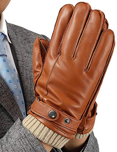 Guanti Touch Screen Uomo, Pelle Genuina con foderata in peluche e finitura a maglia, Guanti Moto Aoto invernali, Marrone, L