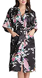 Aibrou Womens Long Satin Robes Peacock Blossoms Bridesmaid Kimono Robe Nightwear Bathrobe Dressing Gowns