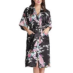 Aibrou Women's Kimono Robe Long Dressing Gown Long Peacock Nightdress Classic Satin Wedding Kimono Nightwear 33 Sexo seguro, condones y contenido erótico | Más de condones