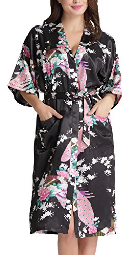 - 511qlfEwGML - Aibrou Womens Long Satin Robes Peacock Blossoms Bridesmaid Kimono Robe Nightwear Bathrobe Dressing Gowns
