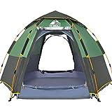 Hewolf Pop Up Zelt für 5 bis 8 Männer Automatische Öffnung Hexangular Hydraulic Double Layer Zelt - Ultra Large Wasserdichtes Kuppelzelt mit Veranda - 100% UV-geschützte Familienzelte mit Tragetasche