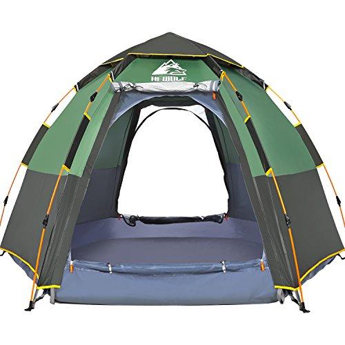 HEWOLF Pop Up Zelt Familienzelt Camping Zelt Tunnelzelt Für 2-3 Personen Vollautomatisch/Sonnenschutz/Anti-Lichtregen