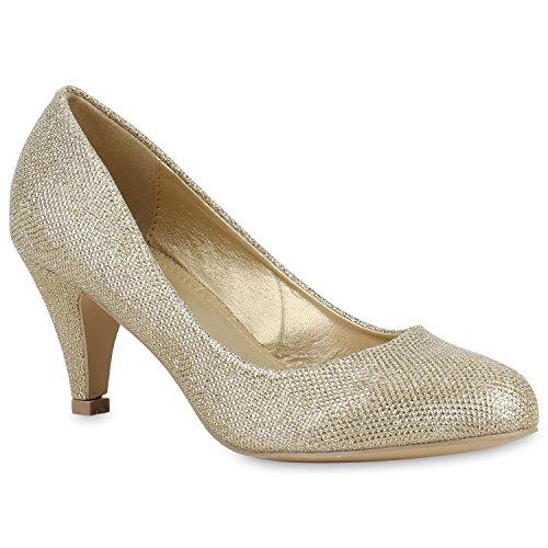 Klassische Damen Pumps Strass Glitzer Party Metallic Stilettos Absatz Abend Lack Schuhe 129507 Gold Glitzer 38 Flandell