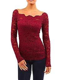 Ulanda-EU Damen Floraler Spitze Langarmshirt Bluse Geblümte Schulterfreie  Slim Fit Elegant Spitzenshirt Tops Shirt T-Shirt Tunika Hemd… 8df3c1e1ff