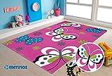 Merinos | Kinderteppich | Diamond | Kids Schmetterling Design | Rechteckig | 100% Merilon Frisee | Lila & Rosa | Größe 80cm x 150cm