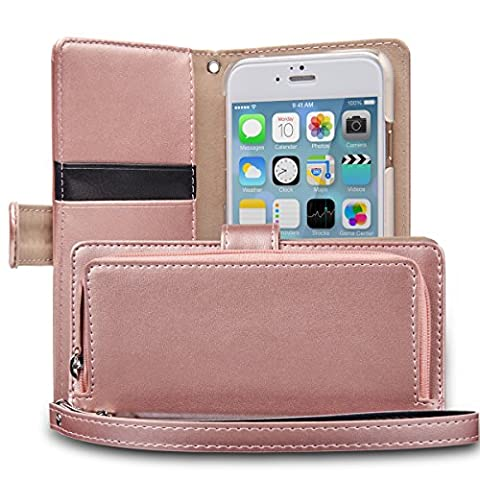 iPhone 6S Case, TORU [iPhone 6S Zipper Wallet Case] Card Slot Holder Magnetic Flip Cover with Zipper Pocket and Wrist Strap for iPhone 6S / iPhone 6 - Rose Gold