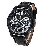 Elegant Klassisch Herren-Uhr, Zarupeng Mode Kunstleder Armbanduhr Analog Quarz Runde Uhren Edelstahl Leder-Armband Schwarz/Braun (One Size, Black)