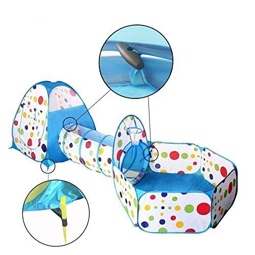 Travel Dream Faltbare Kinder Kleinkind Pop Up Spielzelt mit Tunnel und Ball Pit mit Reißverschluss Aufbewahrungsbeutel für Kinder Innen-und Outdoor-Spielhaus Kinder spielen Gaming Spielzeug (Hund Pit Ball)