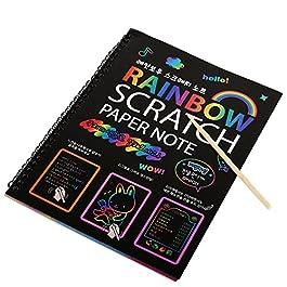 Afufu Scratch Art Paper Rainbow Scratch Art Libri Pittura con Stilo per Bambini