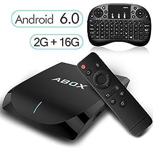 [Gratis Mini Tastiera Wireless] Android 6.0 TV Box 2GB/16GB, 2017 Modello GooBang Doo ABOX A2 Amlogic 64 Bits Quad Core Smart TV Box Supporto Vero 4K Dual Band WiFi 2.4GHz/5GHz Bluetooth 4.0