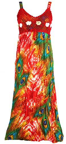 Guru-Shop Boho Sommerkleid, Krinkelkleid, Strandkleid Hippie Chic, Damen, Rot/grün, Baumwolle, Size:38, Lange & Midi-Kleider Alternative Bekleidung - Stufenrock Kleid