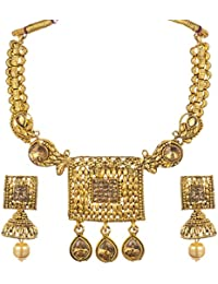 Trendtales Gold Plated Necklace Set Jewelry For Women With Jhumka Style Earring A89