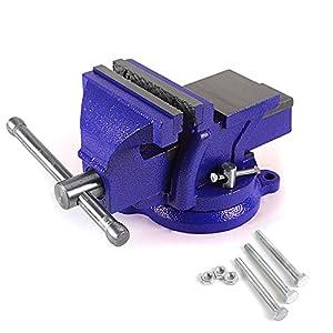 Banco mandíbula de tornillos de Rayinblue resistente con 3orificios para montaje y base giratoria de 360 °, 6″ 150MM