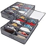 Lot de 2 Sac De Rangement pour Chaussures avec fenêtre Transparente - Organiseur Chaussures, Compartiments Boîte sous Le Lit