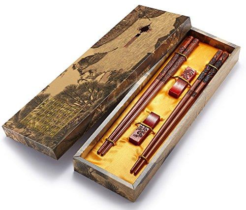 Essstäbchen, wiederverwendbar, chinesischer Stil, Holzdrache und Phönix, Essstäbchen, mit Halter und Tragetasche, chinesisches Geschenk-Set (2 Paar)