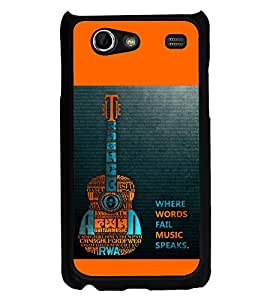 PrintVisa Designer Back Case Cover for Samsung Galaxy S Advance i9070 (Guitar Words Fail Music Speaks Typography)