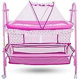Baybee Comfort Cradle Cot - New Born Baby Swing Cradle With Mosquito Net & Wheel (Pink)