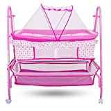#7: Baybee Comfort Cradle Cot - New Born Baby Swing Cradle with Mosquito Net & Wheel (Pink)