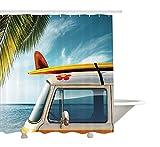 Rideau de douche Yeuss Surfboard de,Vintage Van à la plage avec une planche de surf sur le toit Journey Spring Season,Ensemble de décoration de salle de bain en tissu avec crochets,Multicolore 60'x72'