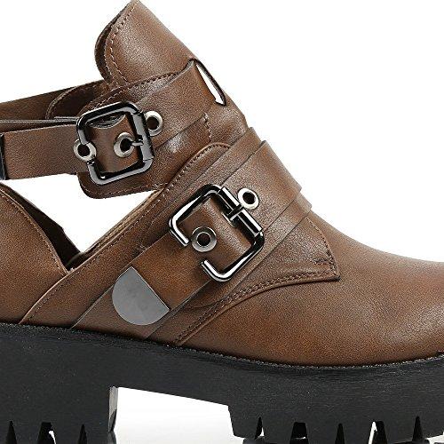 Ideal Shoes–Stiefelette Offene Stil Grunge Poppy Braun - braun