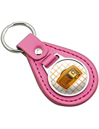 Retro Radio Vintage Technology Pink Leather Metal Keychain Key Ring
