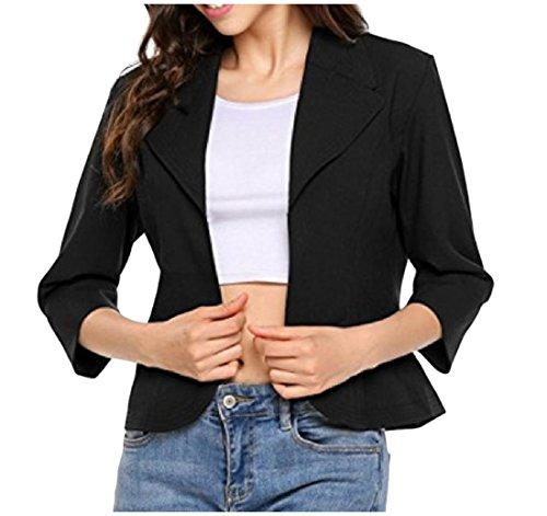 CuteRose Women Slim Blazer 3/4 Length Turn-down Collar Solid Welt Jacket Black L 3/4 Length Down Coat