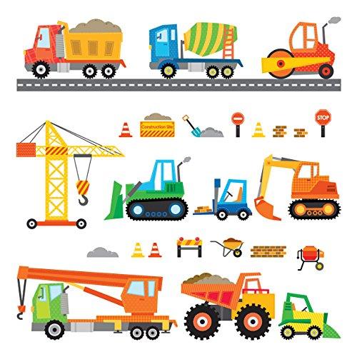Decowall DS-8012 Bau Baustelle Transporte Autos Fahrzeuge Wandtattoo Wandsticker Wandaufkleber Wanddeko für Wohnzimmer Schlafzimmer Kinderzimmer (Klein) -