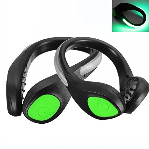Ungfu Mall Lote de 2 clips LED luminosos para zapatos, luz nocturna de advertencia ideal para ciclismo, running, deportes, ir de compras o escalada, verde