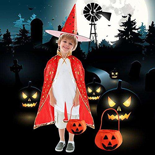 Imagen de capa de capa de halloween disfraz de halloween capa del bruja mago con sombrero calabaza basket para niños niñas de outee, rojo alternativa
