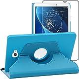 ebestStar - Compatible Funda Samsung Galaxy Tab A6 A 10.1 (2018, 2016) T580 T585 Carcasa Cuero PU, Giratoria 360 Grados, Función Soporte, Azul + Cristal Templado [Aparato: 254.2x155.3x8.2mm 10.1']