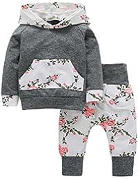 Ensemble de vêtements à Manches Longues, Internet Bébé Fille Sweatshirt à Capuche Léopard + Pantalons